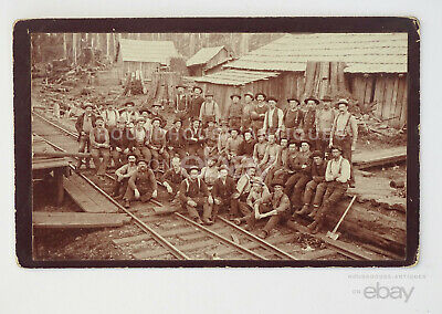 1900s Antique Occupational Cabinet Card Sepia Photo of Loggers Stumptown Camp WA