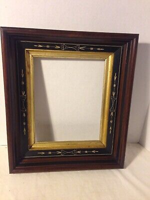 Antique  Aesthetic Victorian Deep  Carved Walnut Ebonized Picture Frame 19C