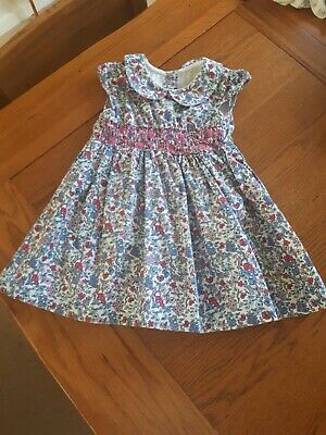 Baby Girl Smocked Embroidered Floral Dress With Matching Bloomers Size 9-12...