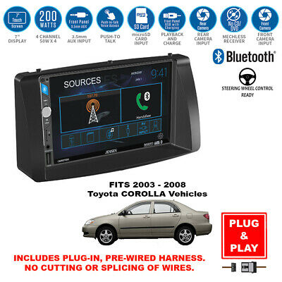 """Double DIN 6.2"""" USB Bluetooth AM/FM Car Stereo Kit for 2003-2008 Toyota Corolla"""