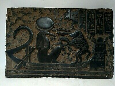 Rare Antique Ancient Egyptian Stela Universe Boat Toth Baboon1880-1790 BC