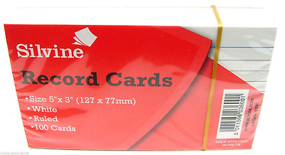"Silvine Ruled Record Cards White 5"" x 3"" Ruled Flash Cards Revision Flash Cards"
