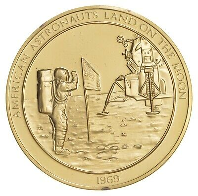 24K Gold Gild American Astronauts On Moon .925 Sterling Silver 61.7g Round *130