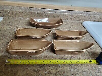 5 Vintage Shrimp Cocktail Boats dipping Dishes ALOA Ceramic Pottery Divided USA