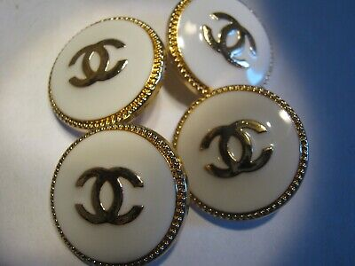 Chanel 4 Pieces nice 22 MM white gold  CC logo metal free ship