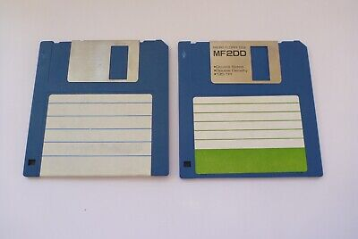 """2 Two Floppy Disks 3.5"""" 1.44 MB Double Sided Density MF-2DD 135TPI"""
