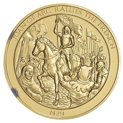 24K Gold Gild Joan Of Arc .925 Sterling Silver 62.1 Grams Round *127