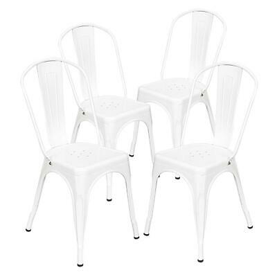 4PCS Industrial Style Dining Side Chair Arm Chairs Stackable Metal Stool White