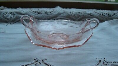 VINTAGE PINK DEPRESSION GLASS SMALL Strawberry Berry Candy Dish With Handles