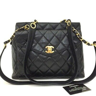 CHANEL Quilted Matelasse CC Logo Caviar Skin Chain Shoulder Tote Bag Black/b127