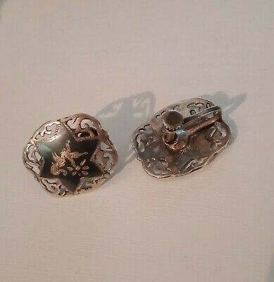 Siam Sterling Silver Vintage/ Antique screw back earrings Hallmarked Siam