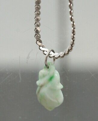 Fantastic Antique Chinese Green Jade Peach Pendant & Sterling Silver Necklace