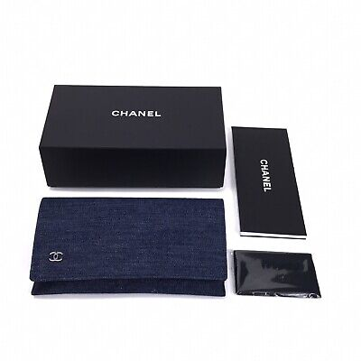 CHANEL Large Magnetic Pouch Sunglasses Case & Cloth Denim Blue New in Box