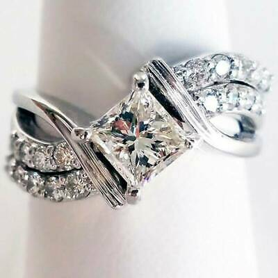 Fashion Women White Sapphire Ring Jewelry 925 Silver Wedding Rings Size 6-10 NEW