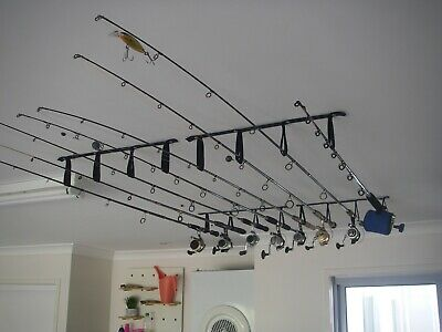 Ceiling Mounted Fishing Rod Holder / Storage Rack x 8 Rods