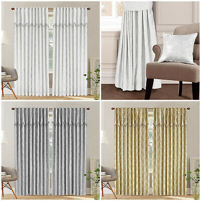 Long Jacquard Ready Made Fully Lined Pencil Pleat Pelmet Pair Curtains Tape Top
