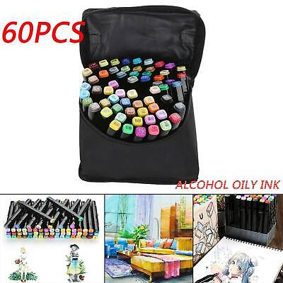 60 Color Marker Pen Dual Headed Graphic Artist Sketch Copic Markers Set