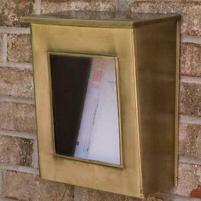 Vertical Wall Mount Brass Mailbox with Viewing Panel in Antique Brass