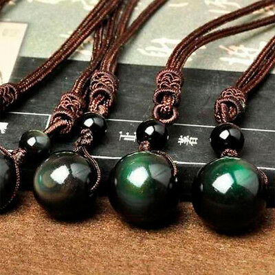 Black Obsidian Rainbow Eye Beads Ball Natural Stone Pendant Transfer Lucky /