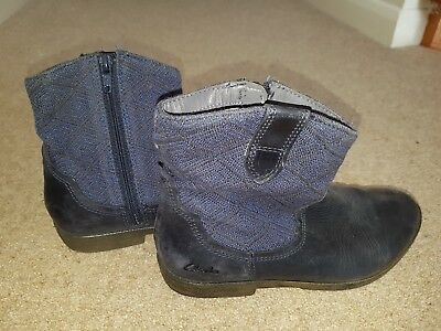 Girls Clarks Boots with side zip Uk Size 1.5 F
