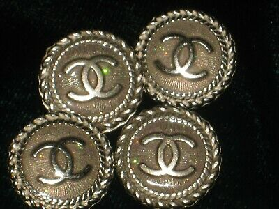 CHANEL opal BUTTONS lot of 4 in 14 mm over 1/2 inch metal with SILVER cc logo