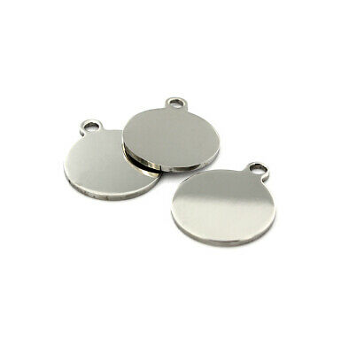 20 Silver Tone Stainless Steel Charm Pendants Blank Stamping Tags 20x18mm