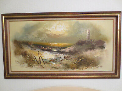 "H.gailey Signed Lighthouse Seascape Oil Painting On Canvas  54"" X 30"""