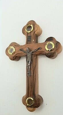 Crucifix Orthodox Jesus Holy Wall Cross Olive,With Holy Soil From,Jerusalem,INRI