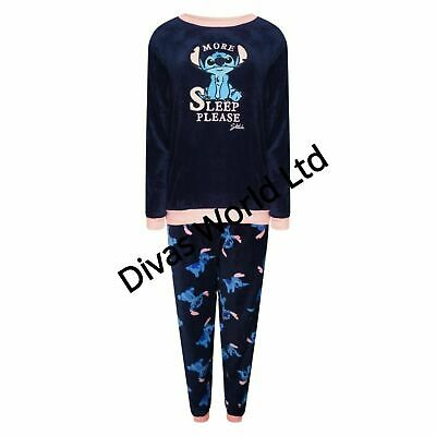 Primark Disney Stitch Fleece Pj Women Ladies Pyjama Set Girls Cosy Loungwear