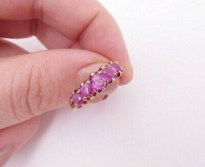 18ct gold old cut ruby ring,  Victorian 5 stone
