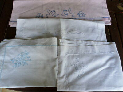 LOT 3 Vintage Silver Cross Baby Child French Embroidered Pillow cases Shams
