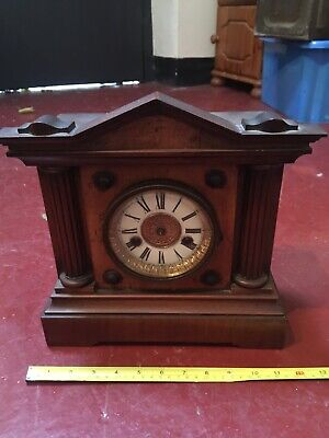 Antique HAC 14 day Strike Chiming Mantel Clock Carved Case Ornate Untested