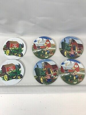 Set of 6 Round Coasters With Case John Deere Tractor Collie Dog Barn Little Boy