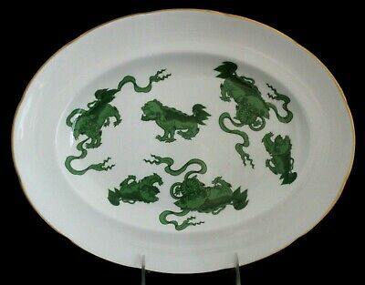 """Wedgwood Chinese Tigers-Green Oval 14"""" Srvng Platter Colonial Williamsburg Ware"""