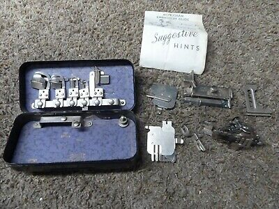 Vintage Rotary Sewing Machine ATTACHMENTS kit Tin case GREIST Accessories Parts