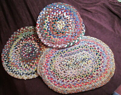 Vintage PRIMITIVE hand woven BRAIDED WOOL & RUG RUG TABLE CANDLE MATS (3)  1930s
