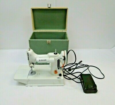 Vintage Singer Featherweight Sewing Machine - 221 K - White - With Case