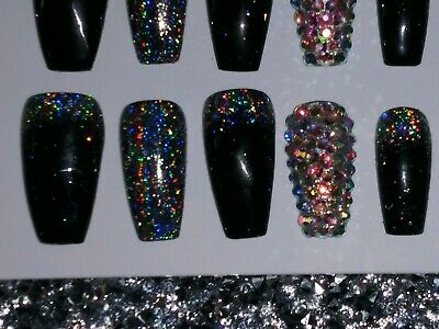 Black holographic glitter bling press on nails holo diamond crystal set short