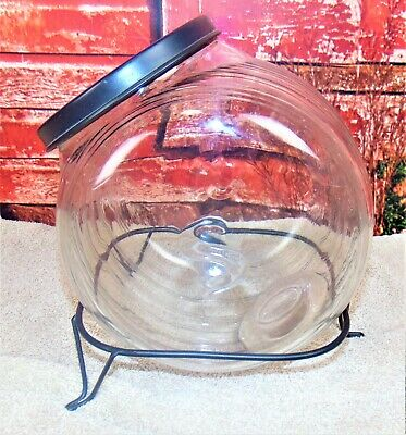 Antique Hoosier Sellers Glass Counter Jar Container Cookie/Candy Canister+Rack