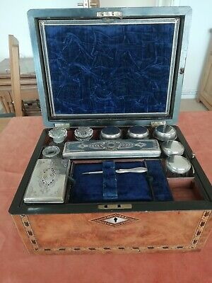 Antique 19th century Victorian wooden inlaid marquetry vanity box set