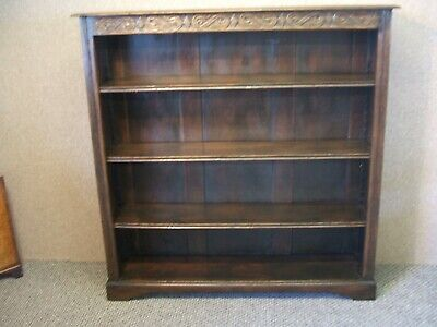 Antique Jacobean Style Carved Oak Open Bookcase / Shelves