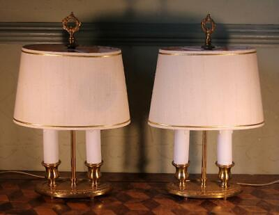 NICE PAIR VINTAGE French Gilt Brass Bouillotte Table Lamps Double Light & Shades