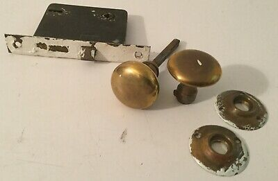 Vintage Door Knobs Handles Brass with Covers and Lock Old Antique