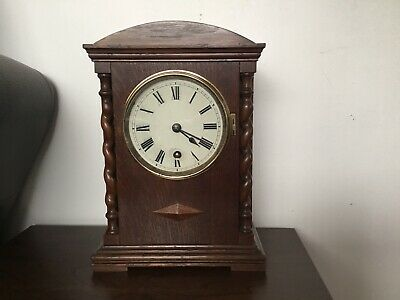 Antique German 8 Day Oak Architectural Mantel Clock, Possibly W&H
