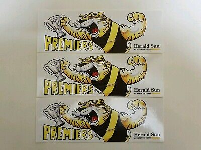 LoT OF 3 2017 RICHMOND TIGERS PREMIERS STICKERS HERALD/SUN NEW AND UNUSED.