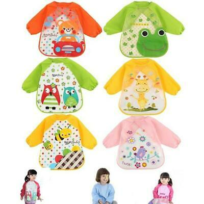 Baby Kids Waterproof Clothes Long Sleeve Bibs Apron Feeding Cartoon Smock G2C4