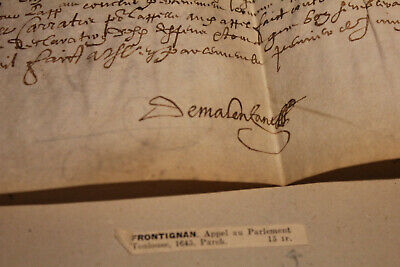 1645 manuscript parchment Royal toulouse parliament call MALTA ORDER stamp