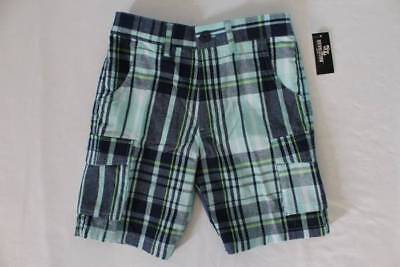 NEW Boys Cargo Shorts Size Small 5 - 6 Blue Plaid Summer Bottoms Casual School