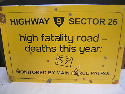 Mad Max 1  Fatality Road Death Toll Rustic Tin Sign