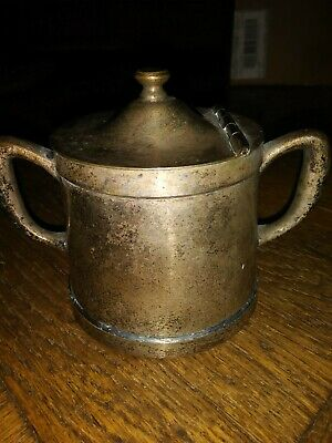 Vintage Grand Silver Co. Wear Brite Hinged Sugar Bowl Nickel Silver with Patina